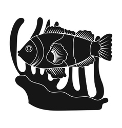 Clownfish and anemone icon in black style isolated vector