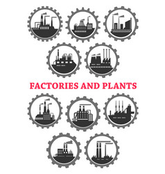 Industrial icons of factory industry plants vector