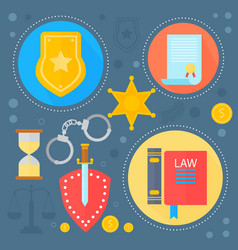 Law and justice design concept with justice icons vector