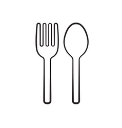 Fork and spoon silhouette icon vector
