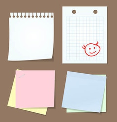 Collection of various note papers vector
