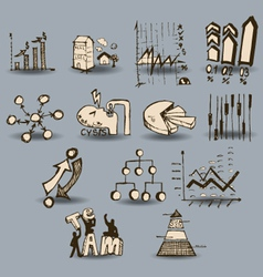 doodle business charts and graph vector image