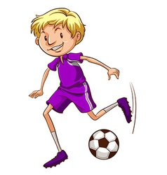 A soccer player with a violet uniform vector