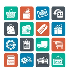 Silhouette shopping and retail icons vector