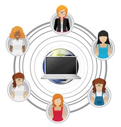 People connected by technology vector