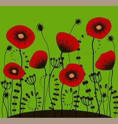 Bright green background with red poppies vector