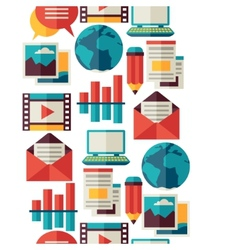 Media and communication seamless pattern with blog vector