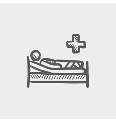 Patient is lying in medical bed sketch icon vector
