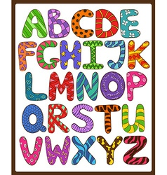 Children alphabet with cartoon capital letters vector