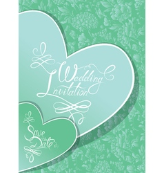 Green wedding invitation 380 vector