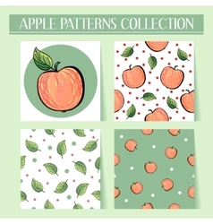 Seamless hand drawn red apple patterns set vector