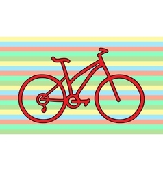 Red bicycle rainbow colors vector