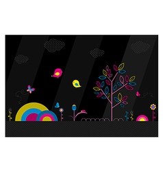 Fantasy park on black background vector image