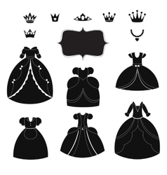 Princess dress silhouettes set cartoon black and vector