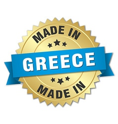 Made in greece gold badge with blue ribbon vector