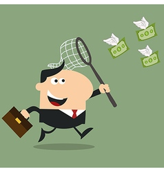 Business Man Chasing Money Cartoon vector image vector image