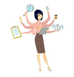 Business woman coping with multitasking vector