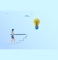 business woman drawing on stairs up to light bulb vector image vector image