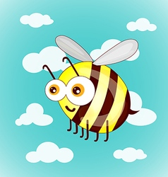 Cartoon cute bees on sky with clouds vector image