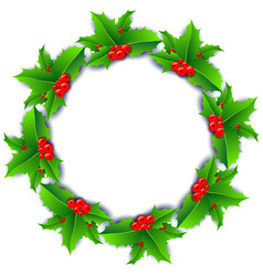 christmas wreath poster with holly berries vector image vector image