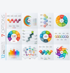 collection of 12 templates for infographics vector image