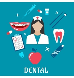 Dental flat concept with dentistry icons vector image