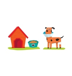 Dog and Dog-House Flat vector image