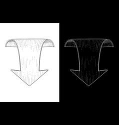 Down arrow hand drawn sketch vector