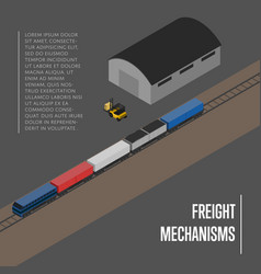 Freight mechanisms isometric banner vector