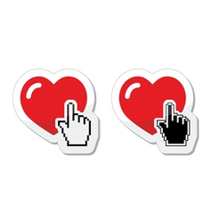 Heart with cursor hand labels - valentines love vector image
