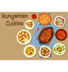 Hungarian cuisine meat dinner dishes icon vector