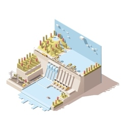 isometric hydro power plant infographic vector image
