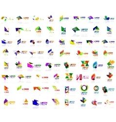 Mega set of paper logo abstract geometrical shapes vector image