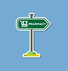 Paper sticker on stylish background pharmacy sign vector