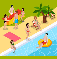 pool rest isometric composition vector image vector image