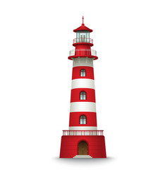 Realistic red lighthouse building isolated on vector image vector image