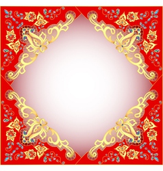 Red background with gold ornament vector