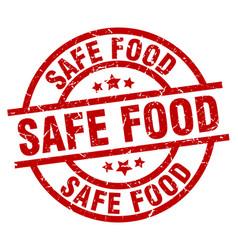 Safe food round red grunge stamp vector