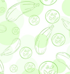 Seamless pattern with zucchini and its slice vector
