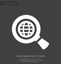 Search globe premium icon white on dark background vector