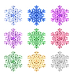 set of snowflakes of different colors vector image