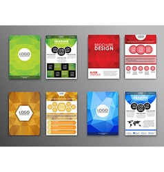 Set polygonal brochures and flyers vector image vector image