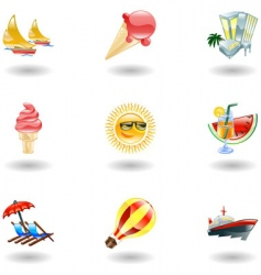 shiny summer icons vector image