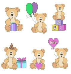 Teddy bear set vector