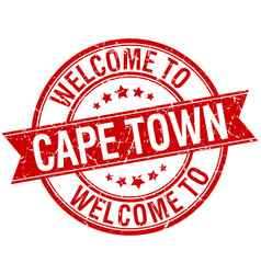 Welcome to cape town red round ribbon stamp vector