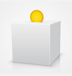 white box piggy bank with a coin vector image vector image