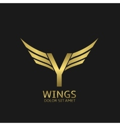 Wings y letter logo vector