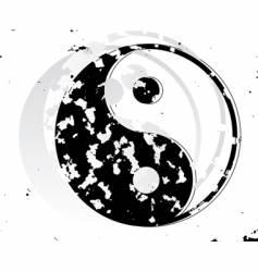 yin and yang grunge symbol vector image