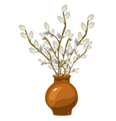 Willow in vase bouquet isolated decor vector