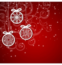 Christmas background with ornaments balls vector